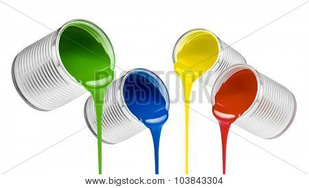 poured from cans colorful paints isolated