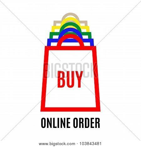 Online Shopping Bag Logo Chat design vector template.