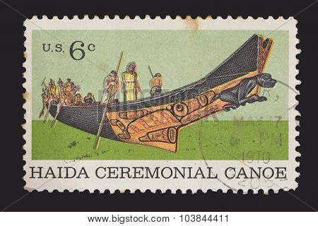 United States Postage Stamp Showing A North American Indians Haida Ceremonial Canoe