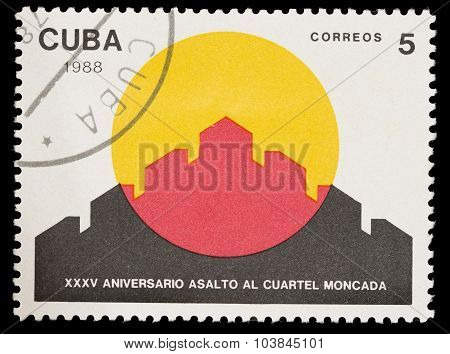 Postage Stamp Printed In Cuba Celebrates The Anniversary Of The Assault On The Moncada Barracks