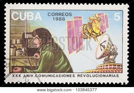 Postage Stamp Printed In Cuba Shows Radio And Satelites As Telecommunication Revolution