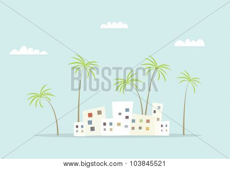 cartoon city with palm