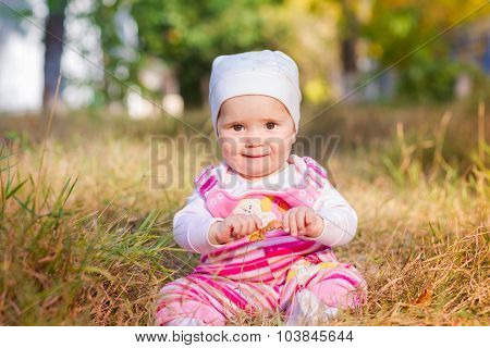 Cute Baby Girl In Autumn Leaves.