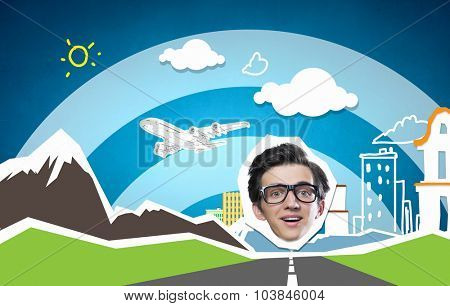Collage image of funny businessman on colorful background