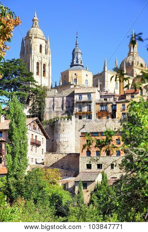 Cathedral and old town of Segovia, Spain