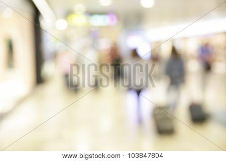 Shop windows in airport - defocused blured background