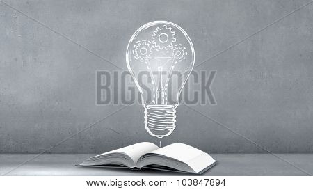 Opened book and light bulb with hears on pages