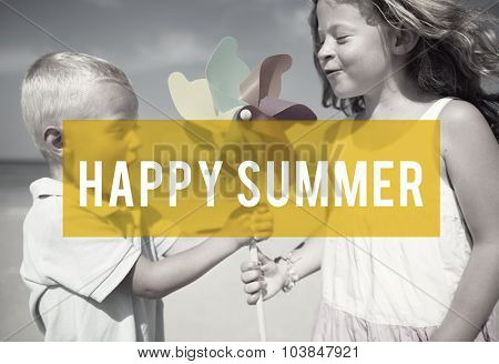 Happy Summer Friendship Beach Vacation Concept