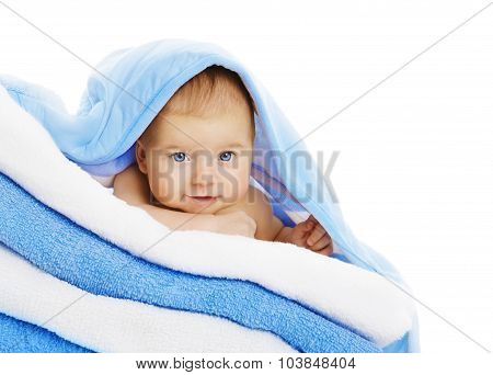 Baby On Towels Blanket, Cute Kid Isolated Over White, Boy