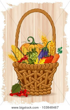Thanksgiving celebration card with rich autumn harvest, ripe vegetables, in the basket on wooden background. Vector illustration.