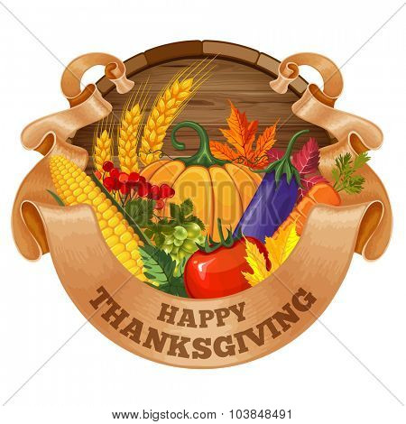 Festive card with rich autumn harvest, ripe vegetables and text Happy Thanksgiving on wooden background. Vector illustration. Isolated on white.
