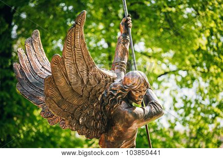 Statue Of Archangel Michael near Red Catholic Church Of St. Simon And St. Helena in Minsk, Belarus