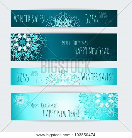 Winter Sale. Banner templates set.