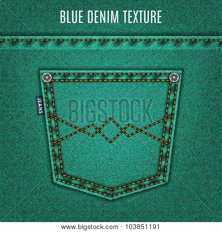 Jeans Turquoise Texture With Pocket Denim Background. Stock Vector Illustration Eps10