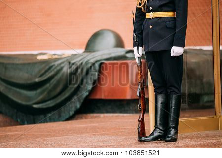 Post honor guard at the Eternal Flame in Moscow at the Tomb of the Unknown Soldier - Post number 1 i