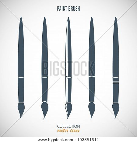 Set Paint Brush Icons Gray Color Isolated On Gray Background. Stock Vector Illustration Eps10