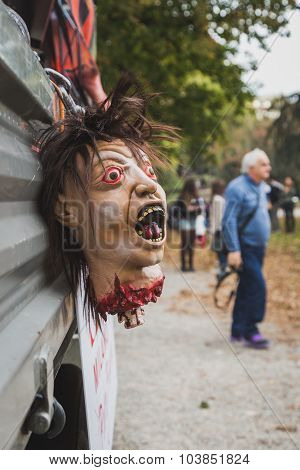 Detail Of A Decapitated Head At The Zombie Walk In Milan, Italy