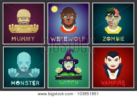 Halloween Party Monster Role Character Bust Icons Set Stylish Background Flat Design Greeting Card T