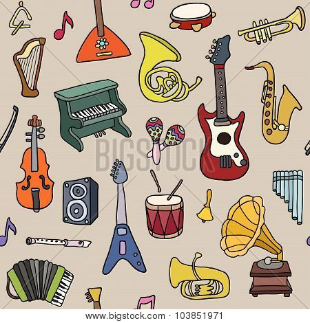 Music seamless pattern. Vector Illustration