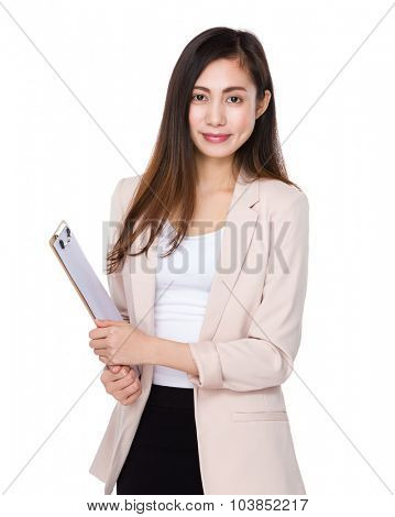 Young businesswoman hold with clipboard