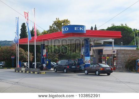 Bar, Montenegro, September, 26, 2015: Petrol station in Bar, Montenegro