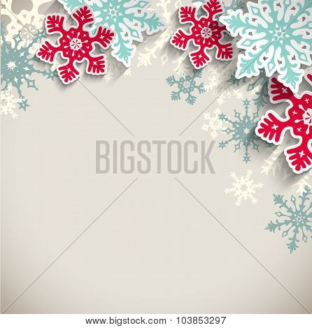 Abstract snowflakes  on beige background, winter concept, illustration