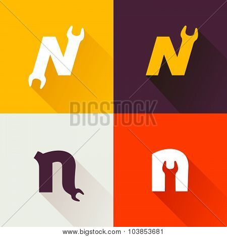 N Letter With Wrench Logo Set.