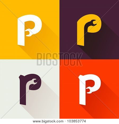 P Letter With Wrench Logo Set.
