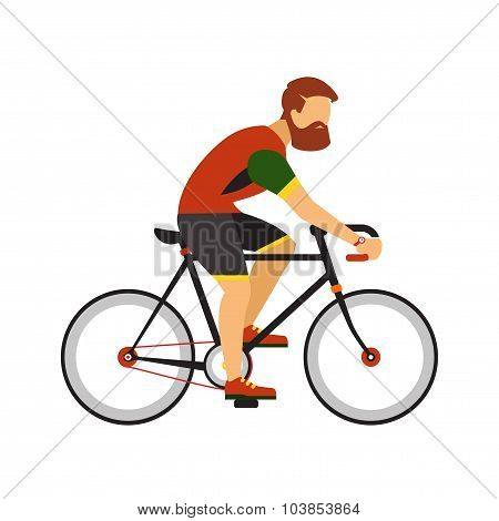 Man with beard ride by road bicycle. Cycling sport vector flat illustration.