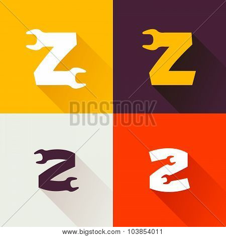 Z Letter With Wrench Logo Set.