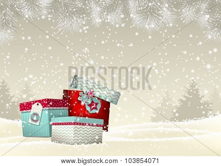 Christmas background with group of colorful giftboxes, illustration