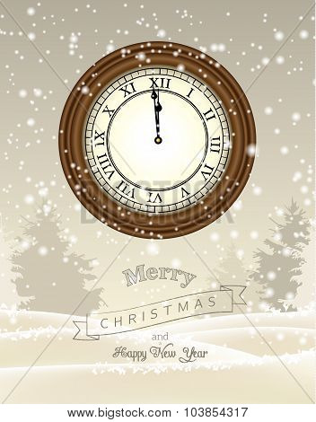Clock showing one minute to twelve, new year greeting card, illustration