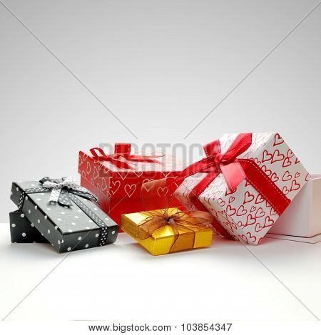 Group Gift Boxes With Bow With Grey Background