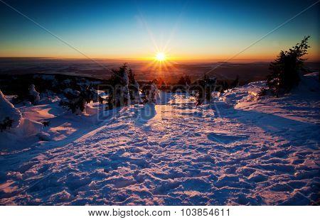 Spectacular winter landscape at sunset