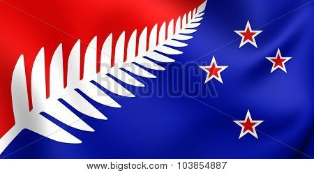 Silver Fern (red, White & Blue) Flag, Proposal Flag New Zealand.