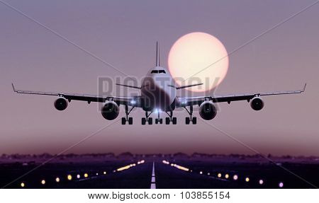 Airplane Touch Down During Sunset