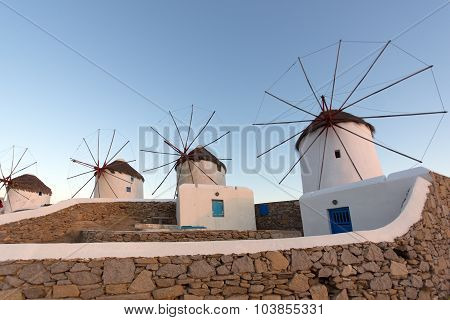 Sunset at White windmill on the island of Mykonos, Cyclades Islands