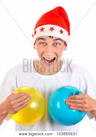 Happy Teenager With Balloons