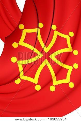 Flag Of Midi-pyrenees Region, France.