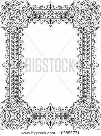 Vintage, Decorative Frame. Can Be Used For Retro Vintage Greeting Card Or Invitation. Indian, Persia