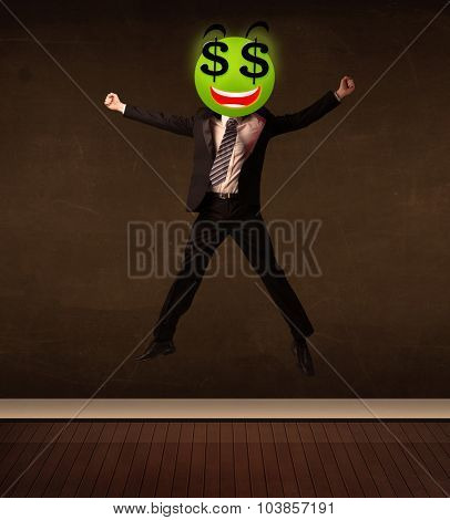 Businessman with dollar sign smiley face