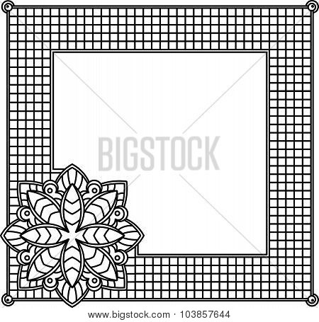 Square Decorative Frame With Abstract Flower. Style Mosaic, Mosaic Tiles.