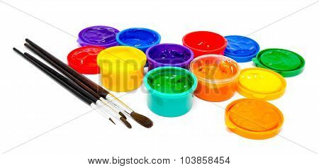 Children Finger Paint And Paintbrushes Isolated