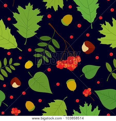 Forest seamless pattern with rowan berries, leaves, acorn, chestnut. Vector set.