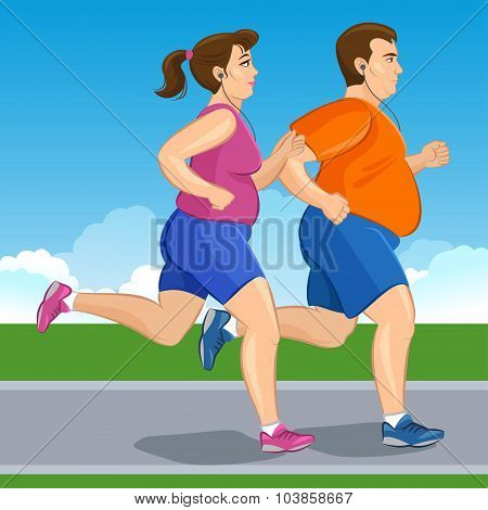 Illustration Of A Fat Runners - Couple Running, Health Conscious Concept. Sporty Woman And Man