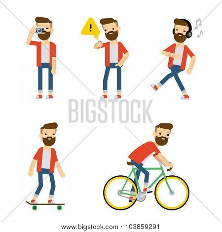 Set of vector flat style characters: hipster guy doing some activities.