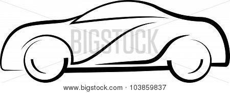 Car Side View Line Outline Silhouette Drawing