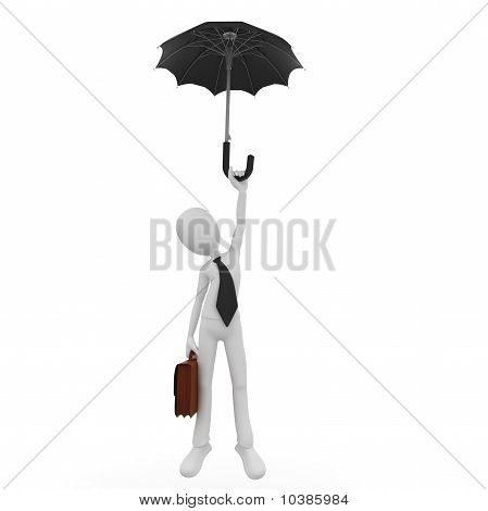 3D Man Freefall With Umbrella