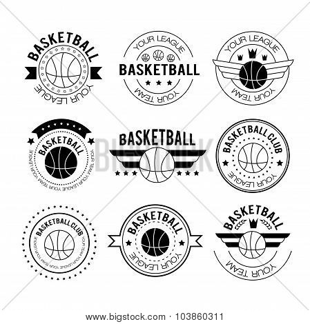 Basketball Logos In Linear Style