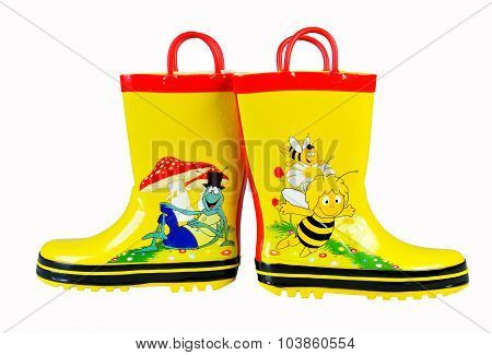 Yellow Rubber Boots For Kids Isolated On White Background